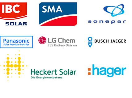 Elektrotechnik Schmidt Partner: IBC Solar, SMA, Sonepar, Panasonic, Busch-Jaeger, Heckert Solar, hager